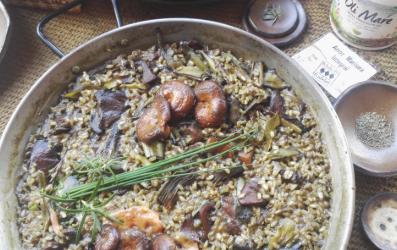 Recepta d'arròs integral amb carxofes i rovellons amb sofregit de Cebalovers
