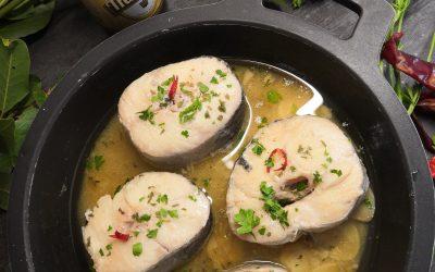 Lluç amb salsa de cervessa d'arròs de Molí de Rafelet